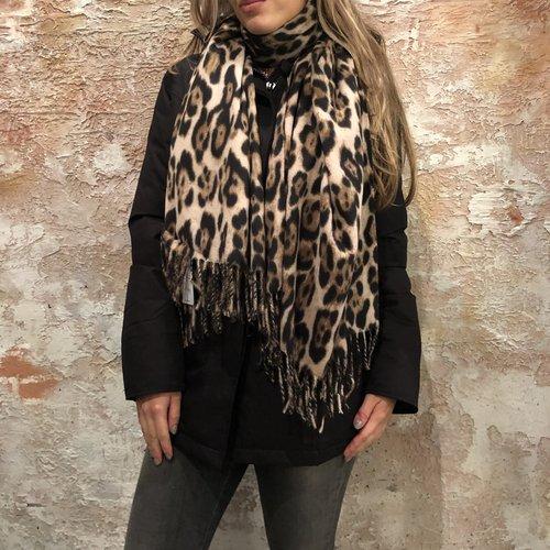 H2H Denim Sjaal met print bruin