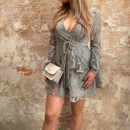 NAKD Lace frill dress light blue