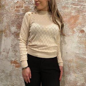 H2H Denim Pullover beige knoop schouder