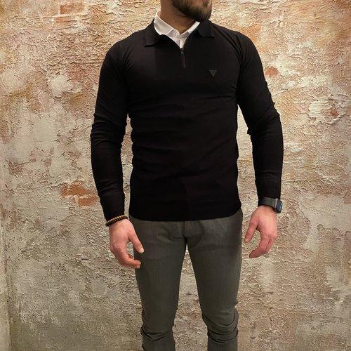 Purewhite Polo zip lange mouw zwart