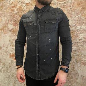 Radical Denim shirt splatters zwart