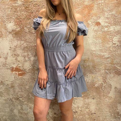 NAKD Off shoulder mini dress blue