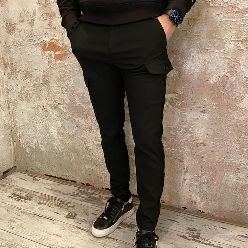 Purewhite Pantalon zwart cargo
