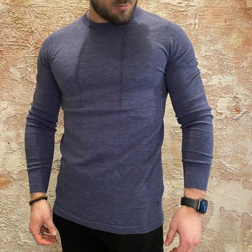 Purewhite Pullover slim fit blue