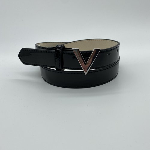 Valentino by Mario Valentino Glans belt silver logo