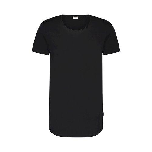 Purewhite long U neck tshirt black