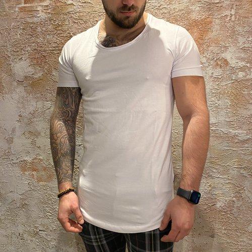 Purewhite long U neck tshirt white