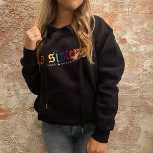 LA Sisters Rainbow hoodie zwart