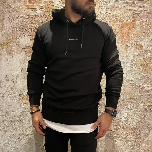 Purewhite triangle hoodie black