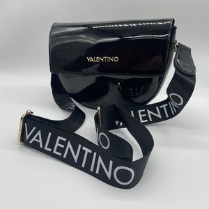Valentino by Mario Valentino Patent Bigs Crossbody Nero