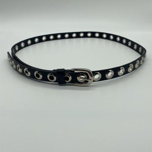 Have2have jurkjes Riem zwart zilverkleurige gaatjes 110 cm