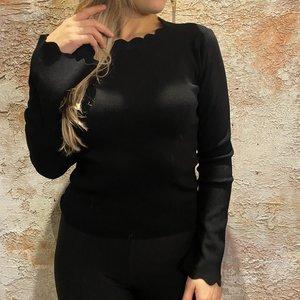 Have2have jurkjes Top zwart uitlopende mouw zwart