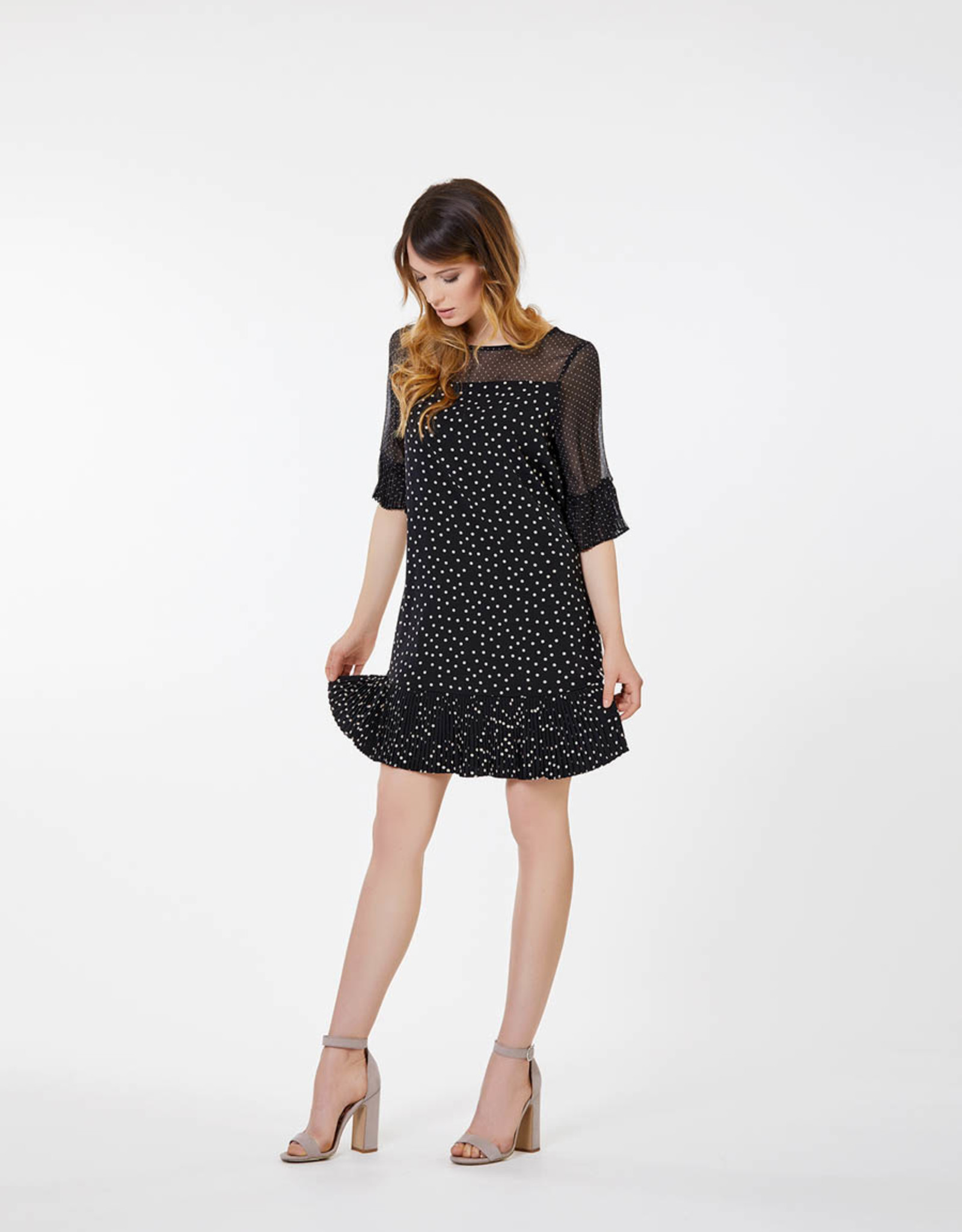 Dames Fashion zwarte jurk met print