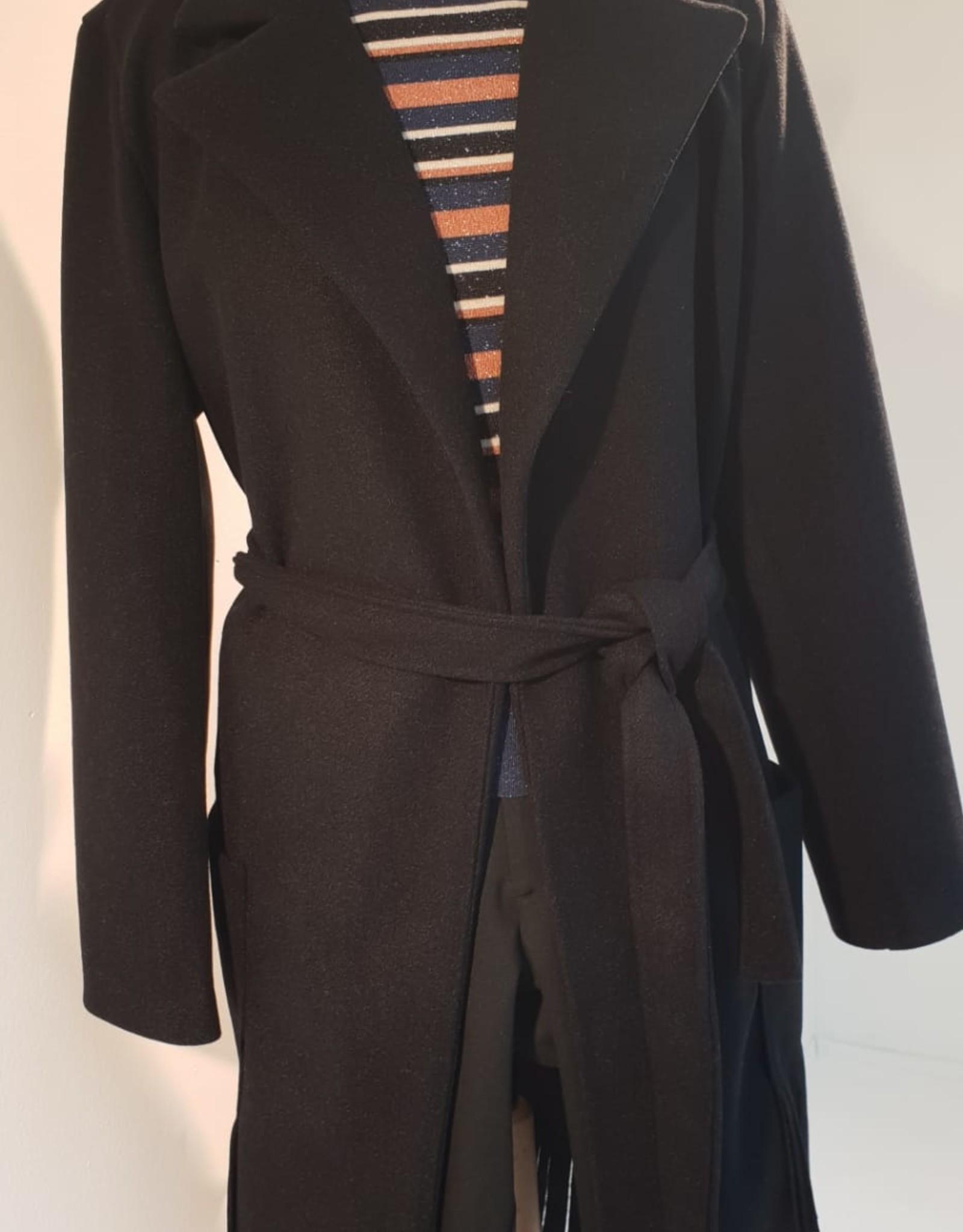 Dames Fashion Donkerblauwe jas met franjes