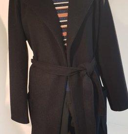 Dames Fashion Zwarte jas met franjes