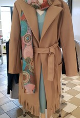 Dames Fashion Beige jas met franjes