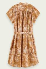 Scotch & Soda R'BELLE Midi-kleed met beige tijgerprint