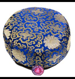 Meditatiekussen blauw met gouden lotus patroon