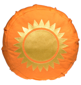 Meditatiekussen oranje met zon voor kinderen