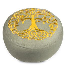Meditatiekussen grijs met gouden levensboom bio-katoen
