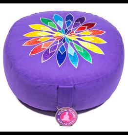 Meditatiekussen violet bloem geborduurd