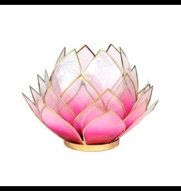 Lotus sfeerlicht roze/lichtroze goudrand groot 15 x 15 cm