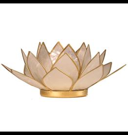 Lotus sfeerlicht parelmoer goudrand  13,50 cm