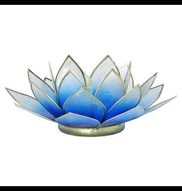 Lotus sfeerlicht blauw/wit 2-kleurig goudrand  13,50 cm