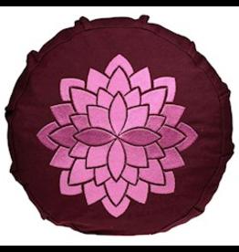 Meditatiekussen bordeaux met lotus voor kinderen