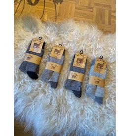 2-pack alpaca sokken fijn gestreept bruin