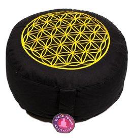 Meditatiekussen zwart/goud levensbloem