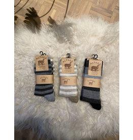 2-pack alpaca sokken gestreept zwart/grijs