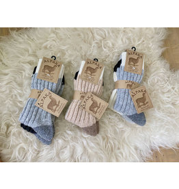 2-pack alpaca sokken classic tricolor lichtgrijs/ecru