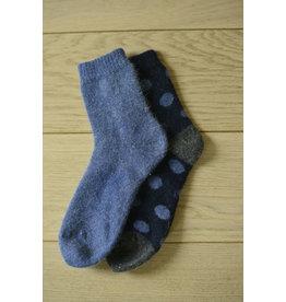 2-pack angora sokken polka dots navy/jeans