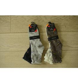 2-pack angora sokken bloemetjes grijs/antraciet