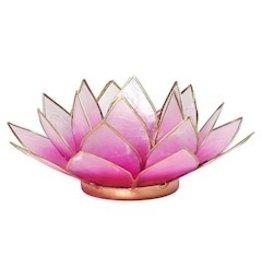 Lotus sfeerlicht Roze - lichtroze goudrand  13,50 cm