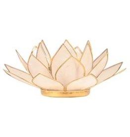 Lotus sfeerlicht naturel goudrand  13,50 cm
