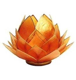Lotus sfeerlicht oranje goudrand groot  15 x 15 cm