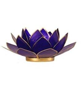 Lotus sfeerlicht indigo 6 e chakra goudrand 13,50 cm