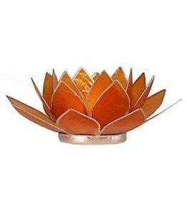 Lotus sfeerlicht oranje 2 e chakra zilverrand 13,50 cm