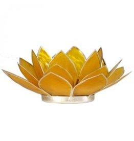 Lotus sfeerlicht geel 3 e chakra zilverrand 13,50 cm