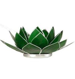Lotus sfeerlicht groen 4 e chakra zilverrand 13,50 cm