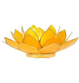 Lotus sfeerlicht geel 3 e chakra goudrand 13,50 cm