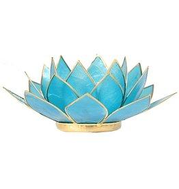 Lotus sfeerlicht blauw 5de chakra goudrand 13,50cm