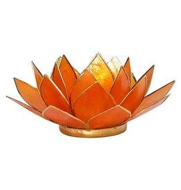 Lotus sfeerlicht oranje 2de chakra goudrand 13,50 cm