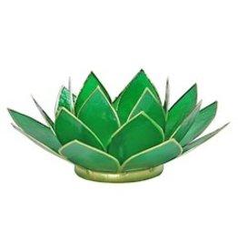 Lotus sfeerlicht groen 4 e chakra goudrand 13,50cm