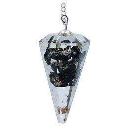 Orgoniet pendel zwarte toermalijn facet geslepen. 11g 4 cm