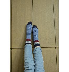 Wollen wintersok multicolor blauw/rood Jaquard sok