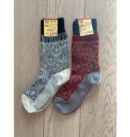 Wollen wintersok multicolor grijs/bordeaux Jaquard sok