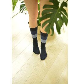 Dunne halflange sok met blokstrepen blauw/jeans biologisch